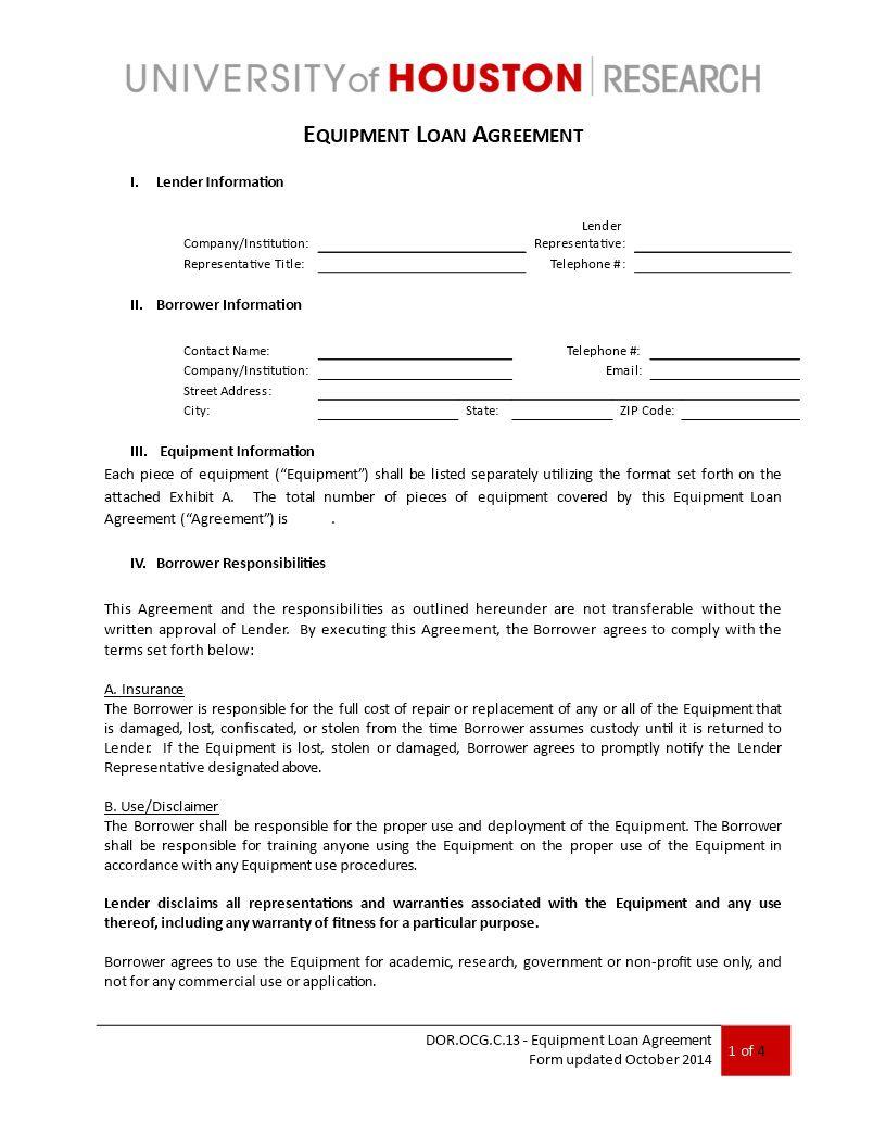 004 Phenomenal Equipment Loan Agreement Template Design  Simple Uk Borrowing FreeFull