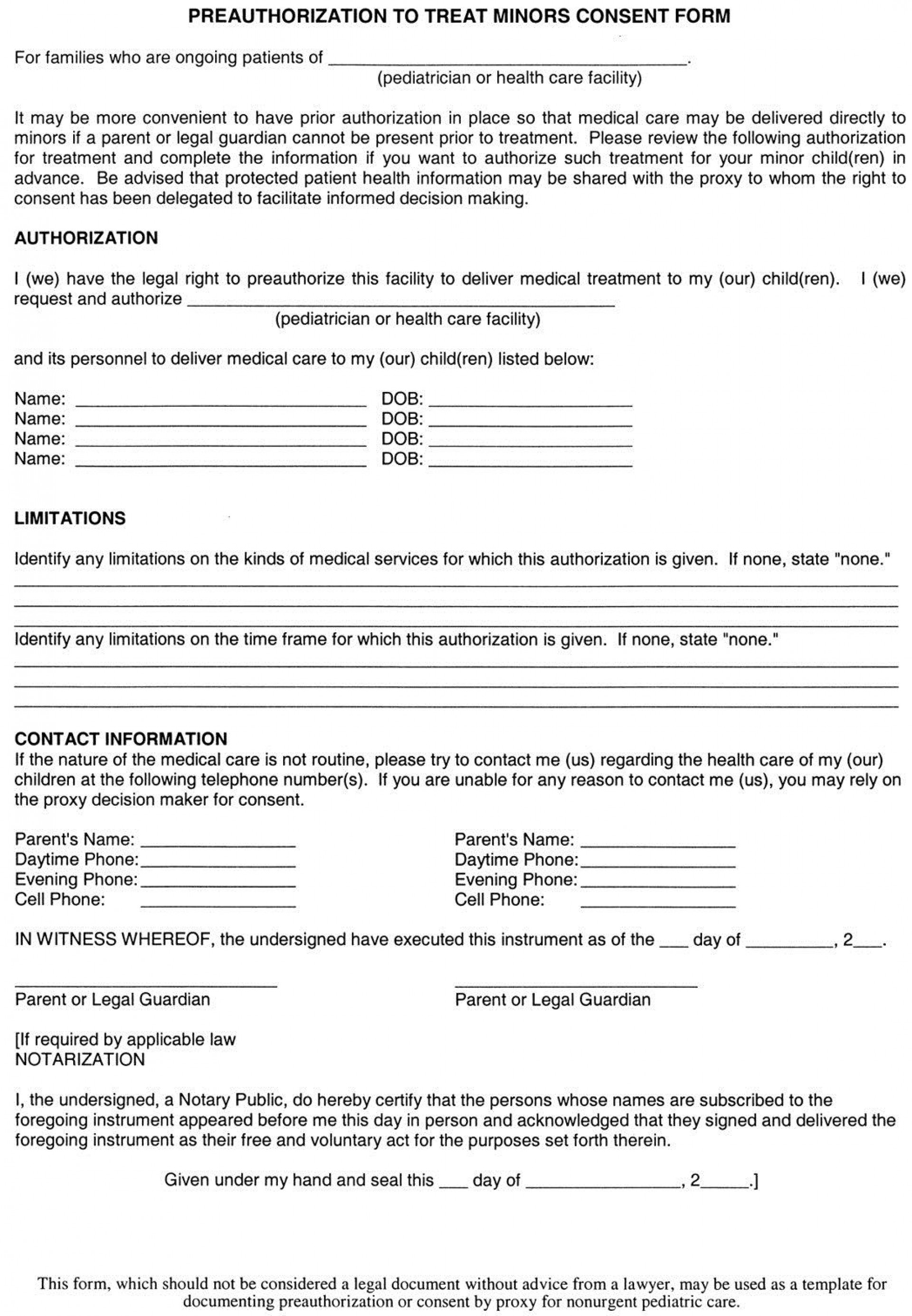 004 Phenomenal Free Child Medical Consent Form Template Picture  Pdf1920