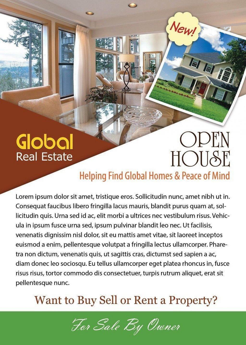 004 Phenomenal Free Open House Flyer Template High Def  Microsoft WordLarge