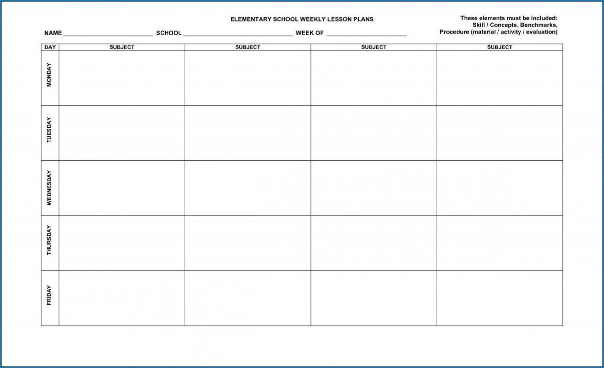 004 Phenomenal Free Printable Lesson Plan Template For High School Example Full