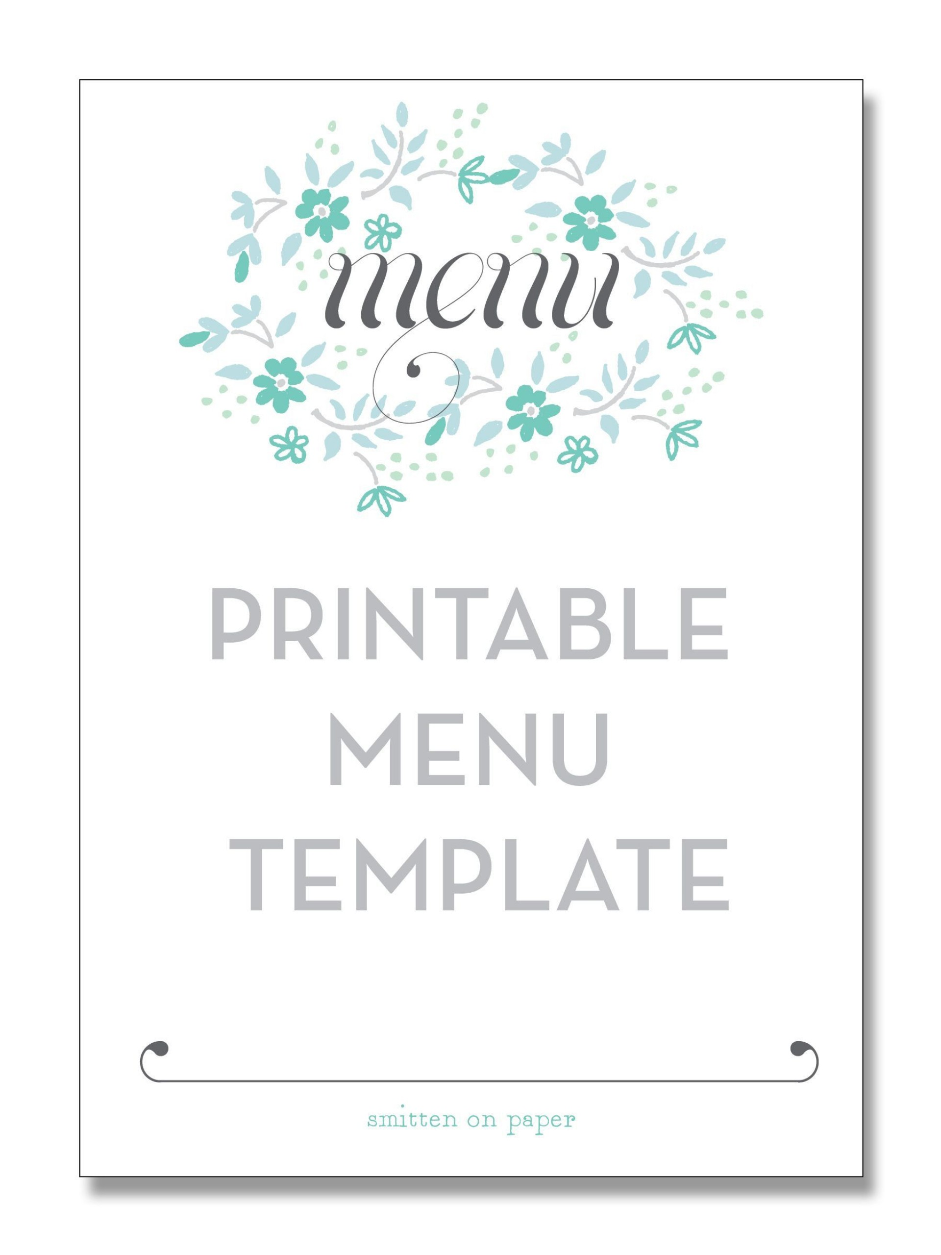 004 Phenomenal Free Printable Menu Template High Resolution  For Dinner Party Family1920