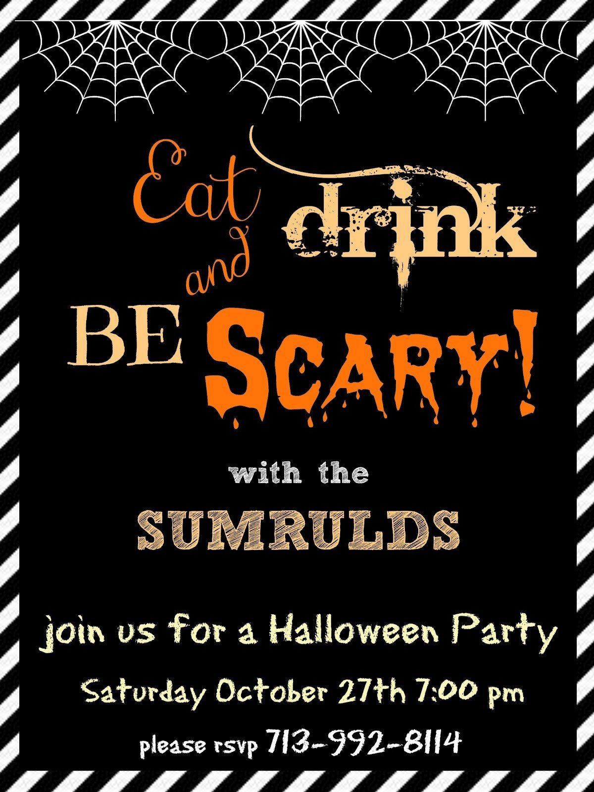 004 Phenomenal Halloween Party Invite Template High Def  Spooky Invitation Free Printable Birthday DownloadFull