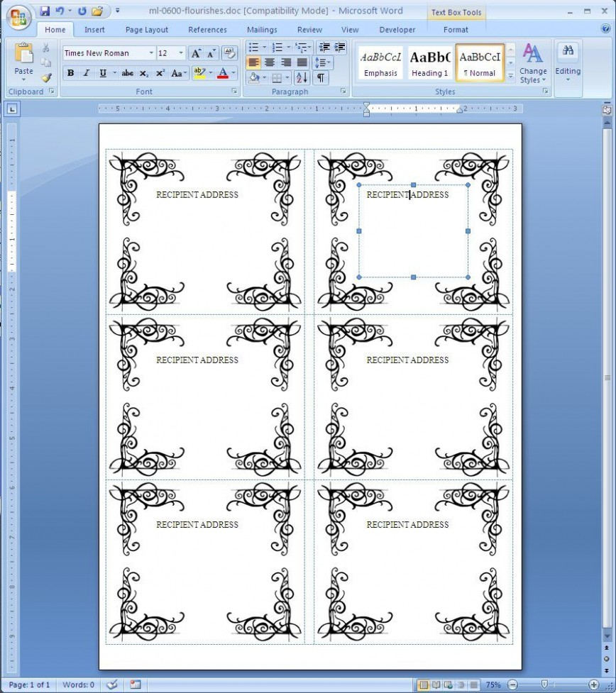 004 Phenomenal Label Template For Word Idea  Free Download 24 Per Sheet Addres 8
