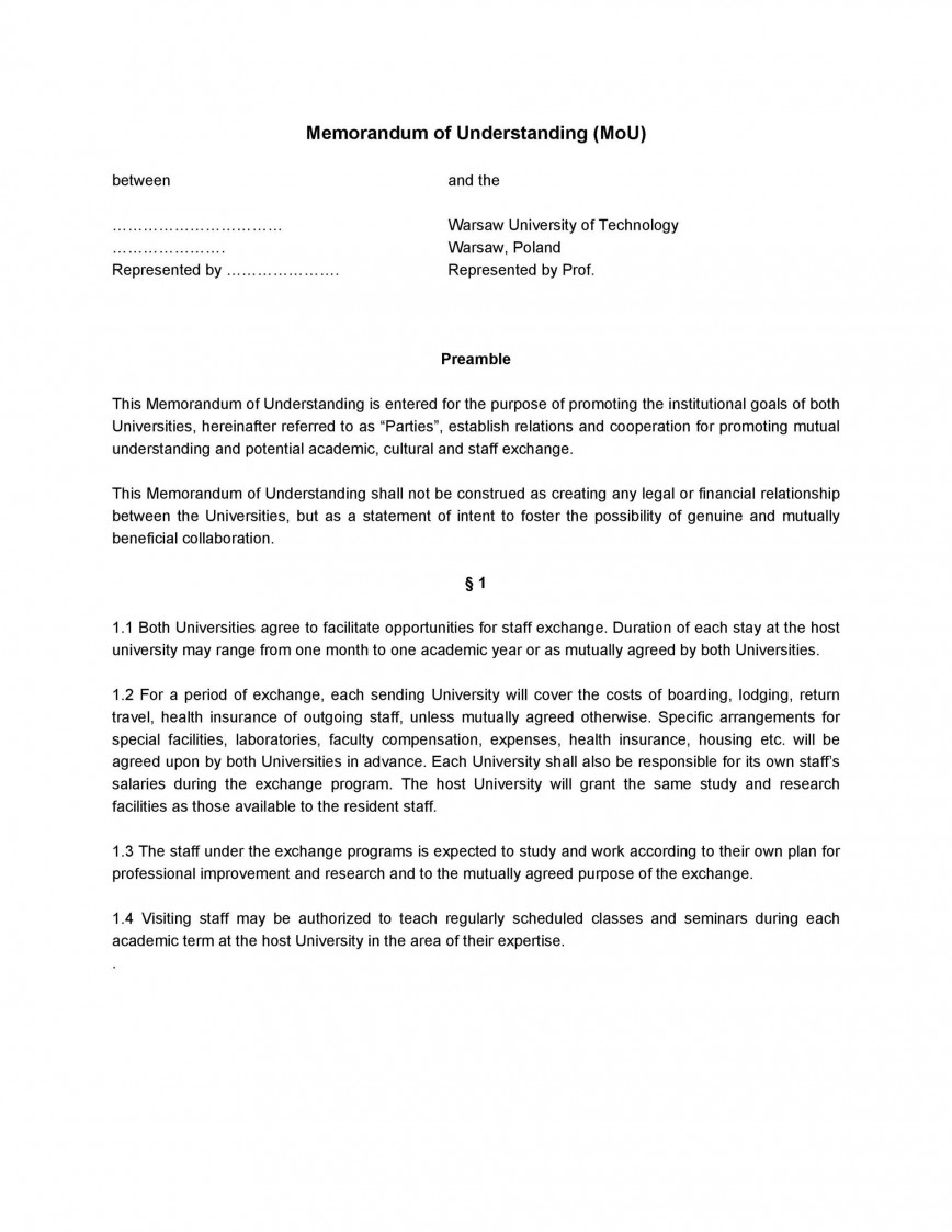 004 Phenomenal Letter Of Mutual Understanding Template Design