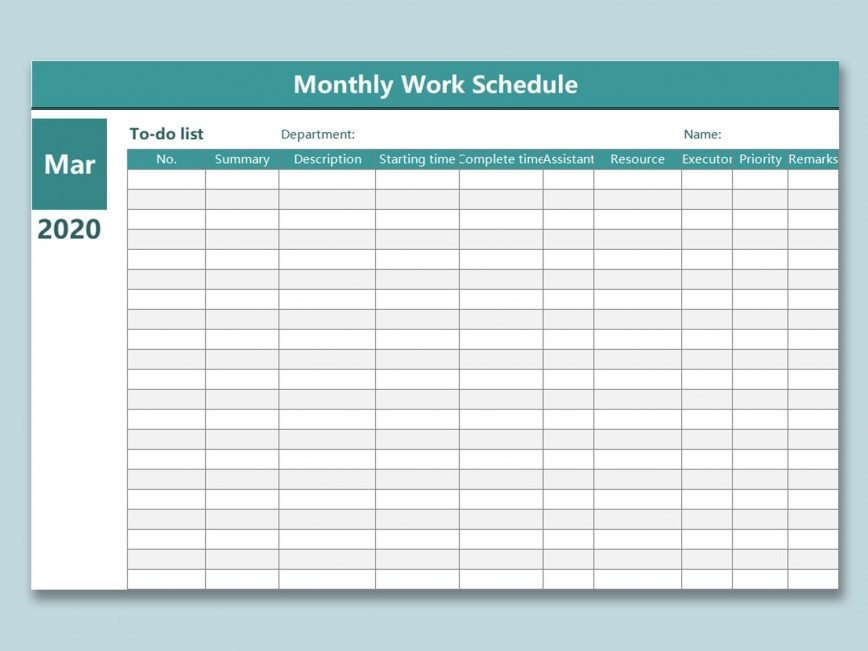 004 Phenomenal Monthly Work Calendar Template Excel Image  Plan Schedule Free Download 2019868