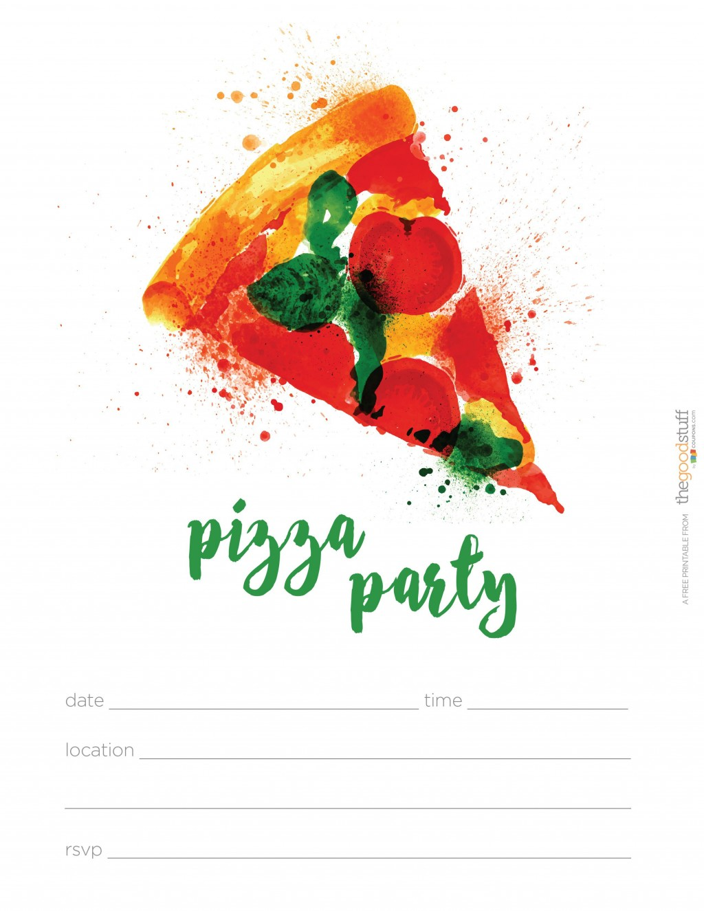 004 Phenomenal Pizza Party Invitation Template Free Idea  PrintableLarge