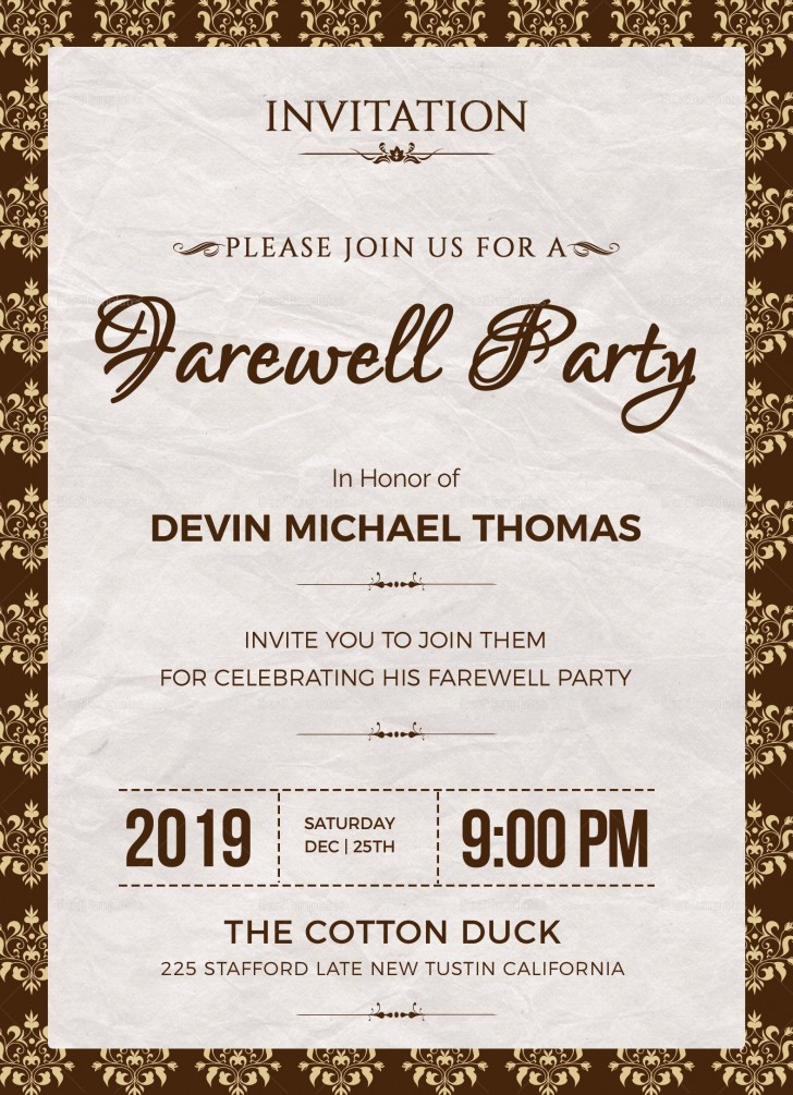 004 Phenomenal Retirement Party Invite Template Word Free Example 728
