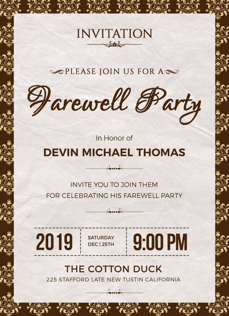 004 Phenomenal Retirement Party Invite Template Word Free Example 868