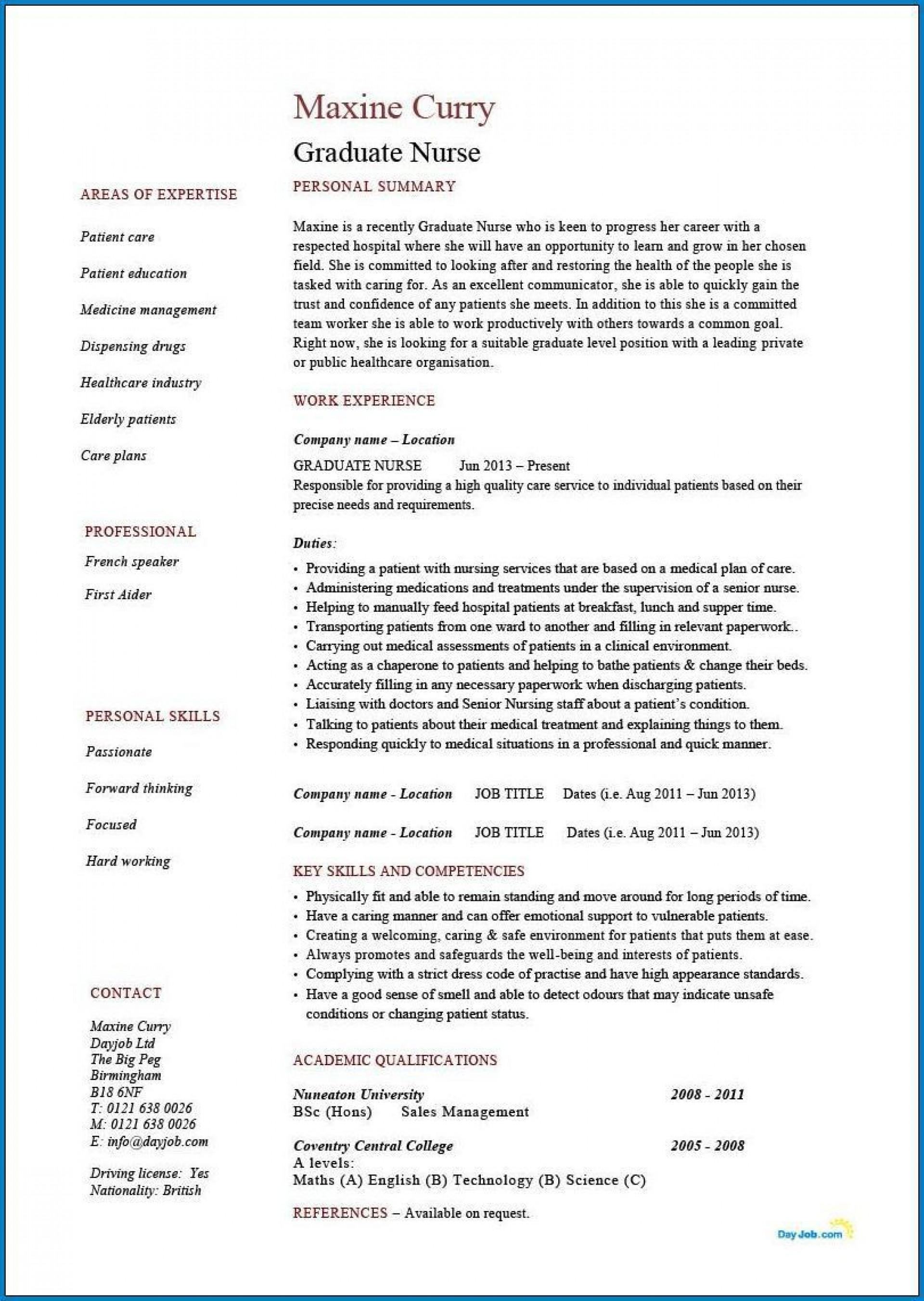 004 Phenomenal Rn Graduate Resume Template Inspiration  New Grad Nurse1920