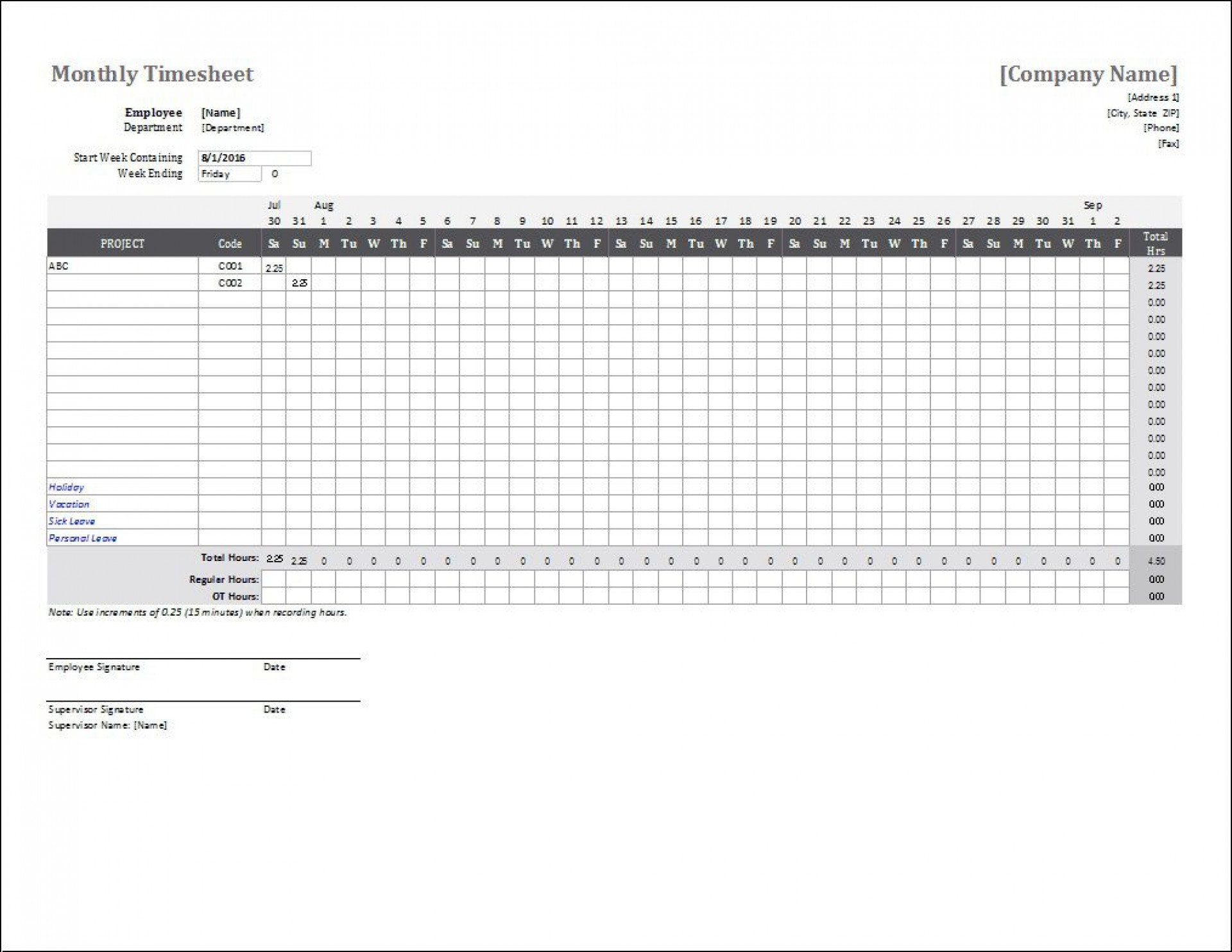 004 Phenomenal Time Card Template Free Picture  Calculator Excel Monthly Biweekly Timesheet1920