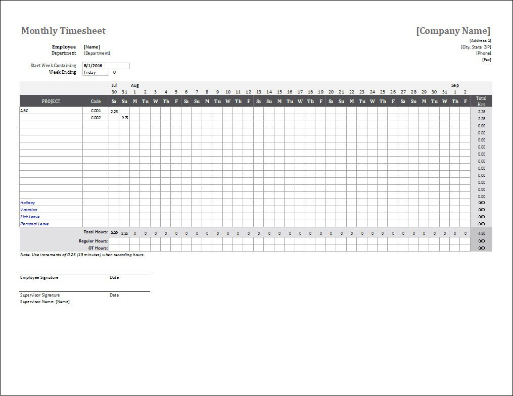 004 Phenomenal Time Card Template Free Picture  Calculator Excel Monthly Biweekly TimesheetFull