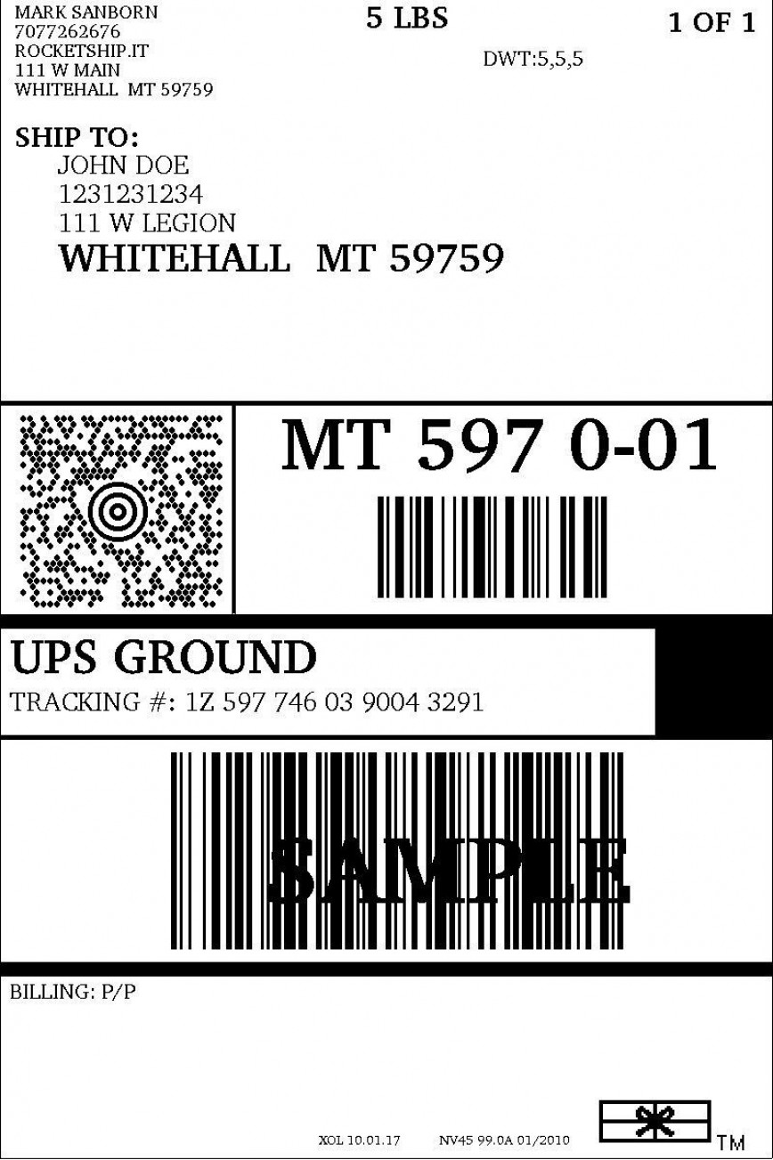 004 Phenomenal Up Shipping Label Template Free Example 868