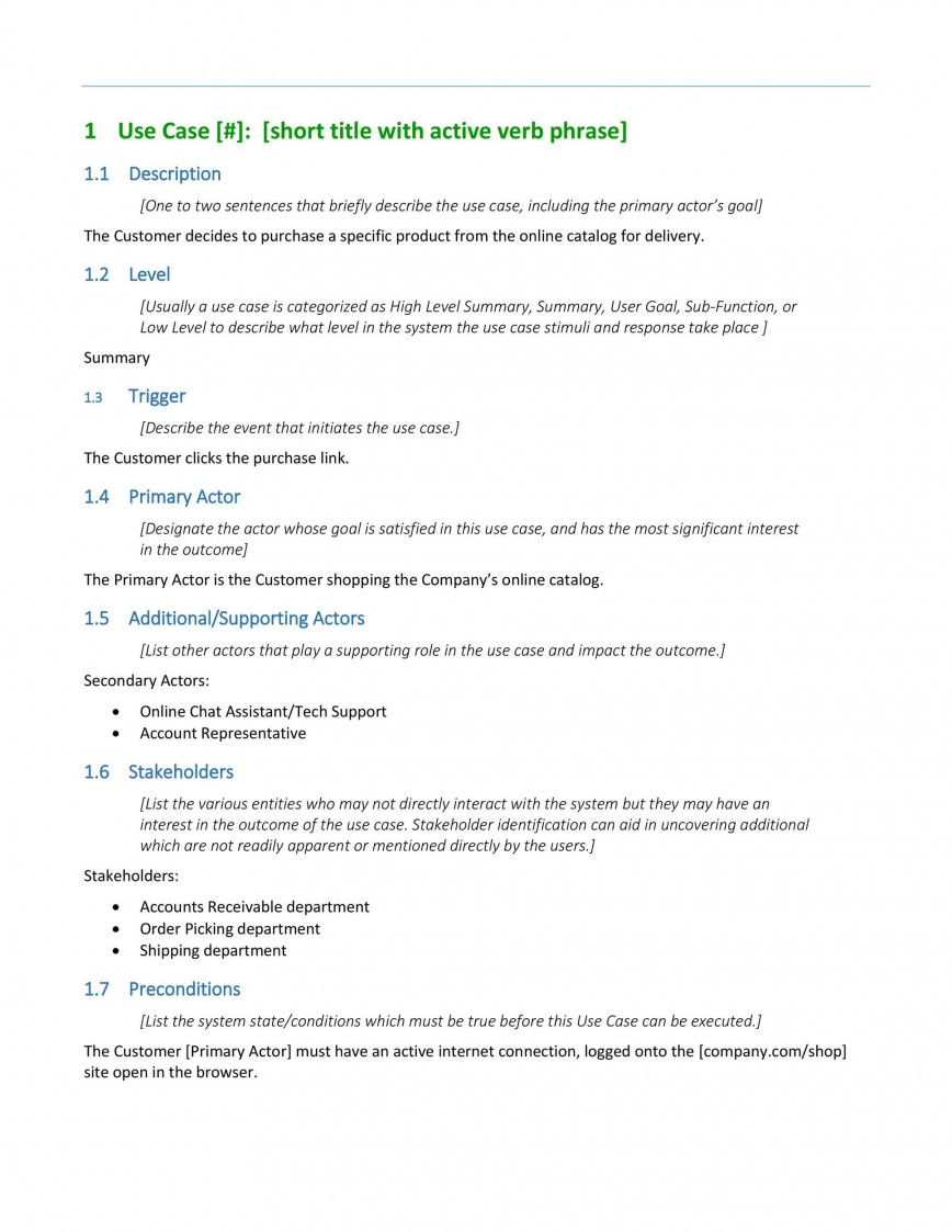 004 Phenomenal Use Case Template Word Highest Quality  Doc Test868