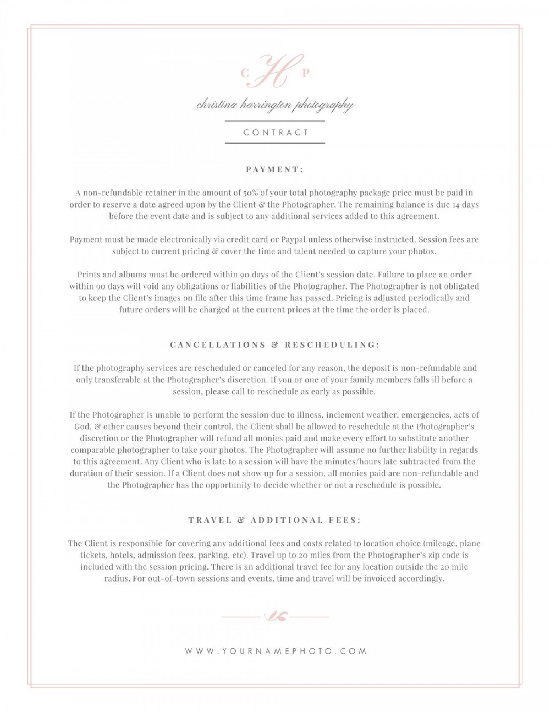 004 Phenomenal Wedding Photographer Contract Template Idea  Free Photography Uk1920