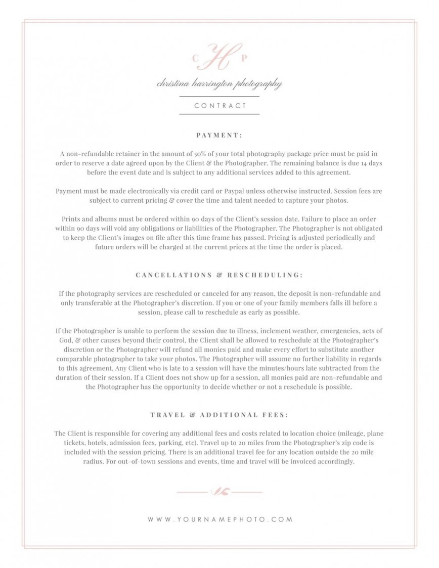 004 Phenomenal Wedding Photographer Contract Template Idea  Uk Free Photography