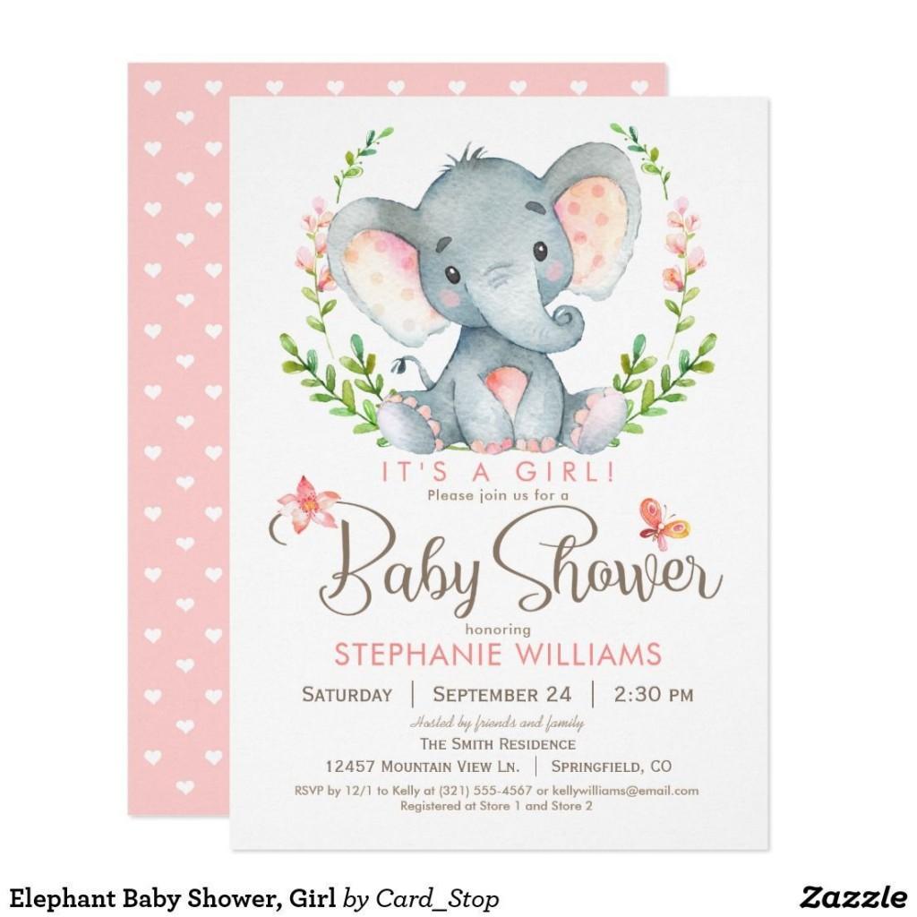 004 Rare Baby Shower Invitation Girl Elephant Example  Free Pink TemplateLarge