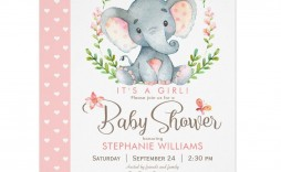 004 Rare Baby Shower Invitation Girl Elephant Example  Free Pink Template