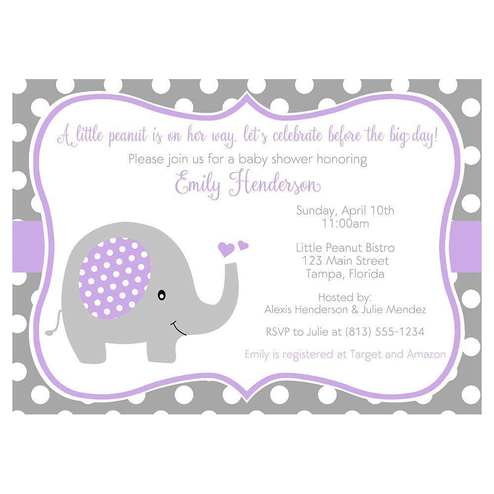 004 Rare Baby Shower Invitation Girl Purple High Def Full