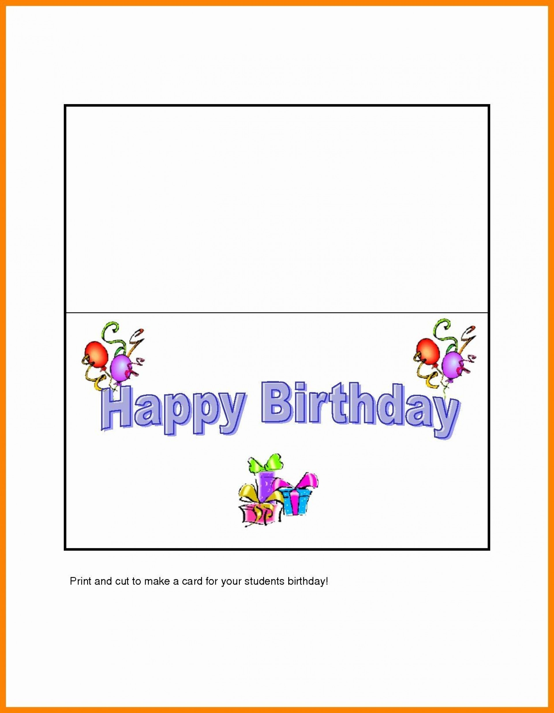 004 Rare Birthday Card Template Word Quarter Fold High Def 1920