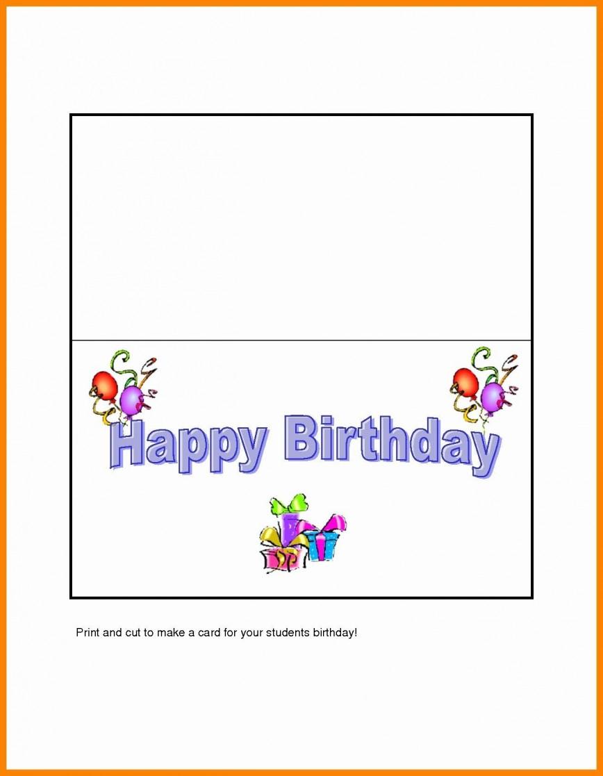 004 Rare Birthday Card Template Word Quarter Fold High Def