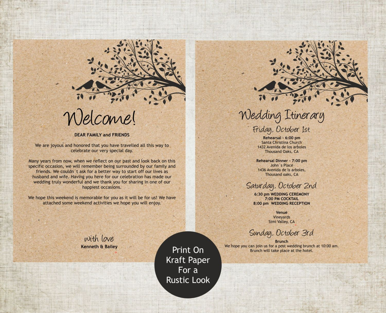 004 Rare Destination Wedding Welcome Letter Template Concept  And ItineraryFull
