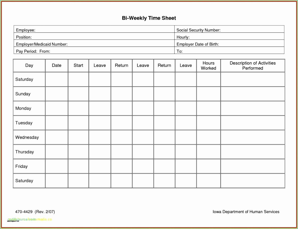 004 Rare Free Biweekly Timesheet Template Photo  Bi Weekly Time Card ExcelFull