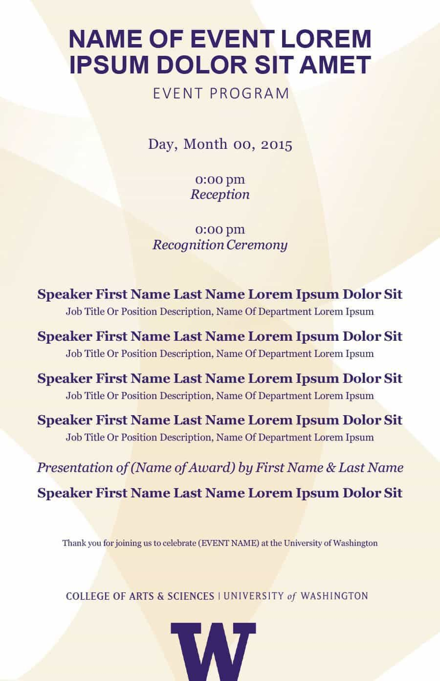 004 Rare Free Event Program Template Picture  Schedule Psd WordFull