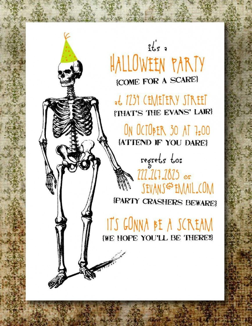 004 Rare Free Halloween Party Invitation Template Design  Printable Birthday For Word Download868