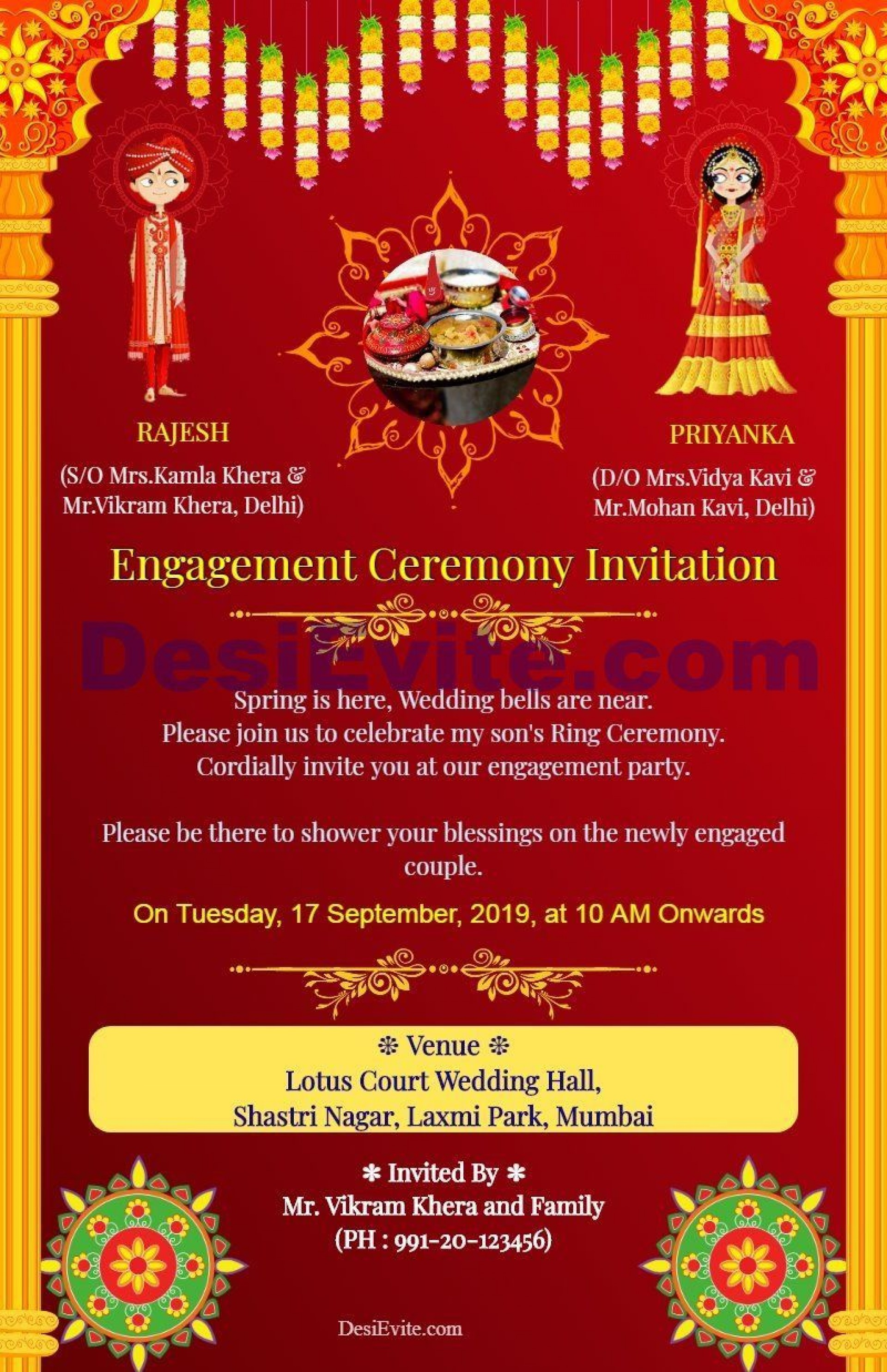 004 Rare Free Online Indian Invitation Template Picture  Templates Engagement Card Maker Wedding1920