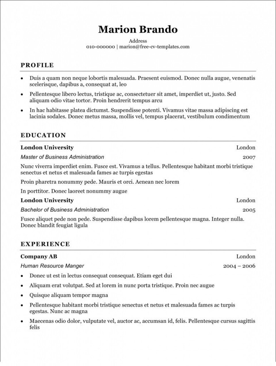 004 Rare Free Simple Resume Template Microsoft Word High Definition 960