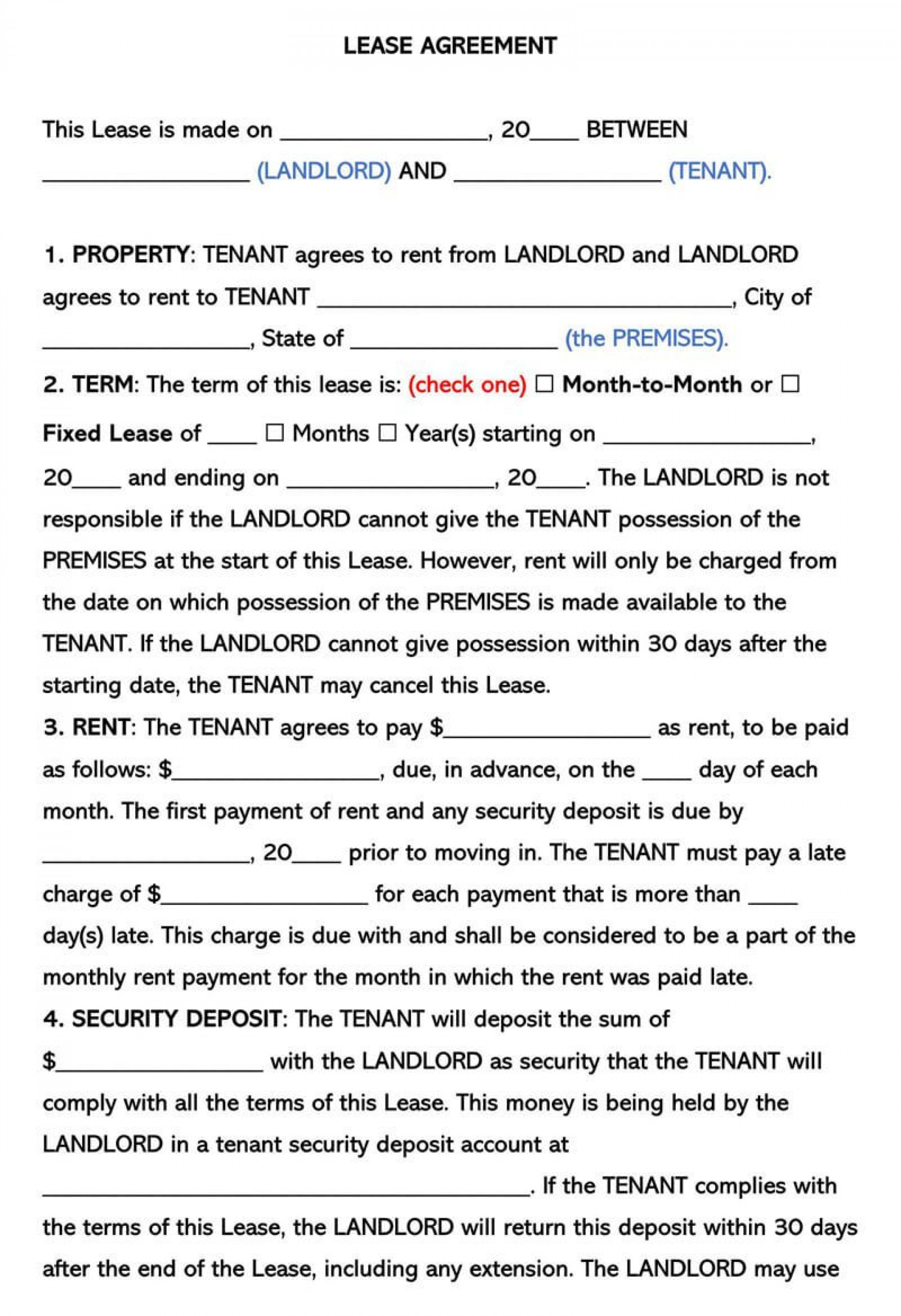 004 Rare Free Template For Rental Lease Agreement Sample  Printable Tenant Form South Africa1920