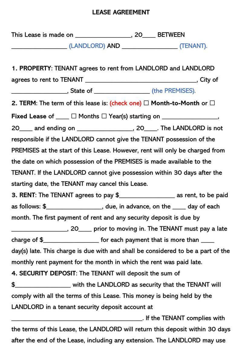 004 Rare Free Template For Rental Lease Agreement Sample  Printable Tenant Form South AfricaFull