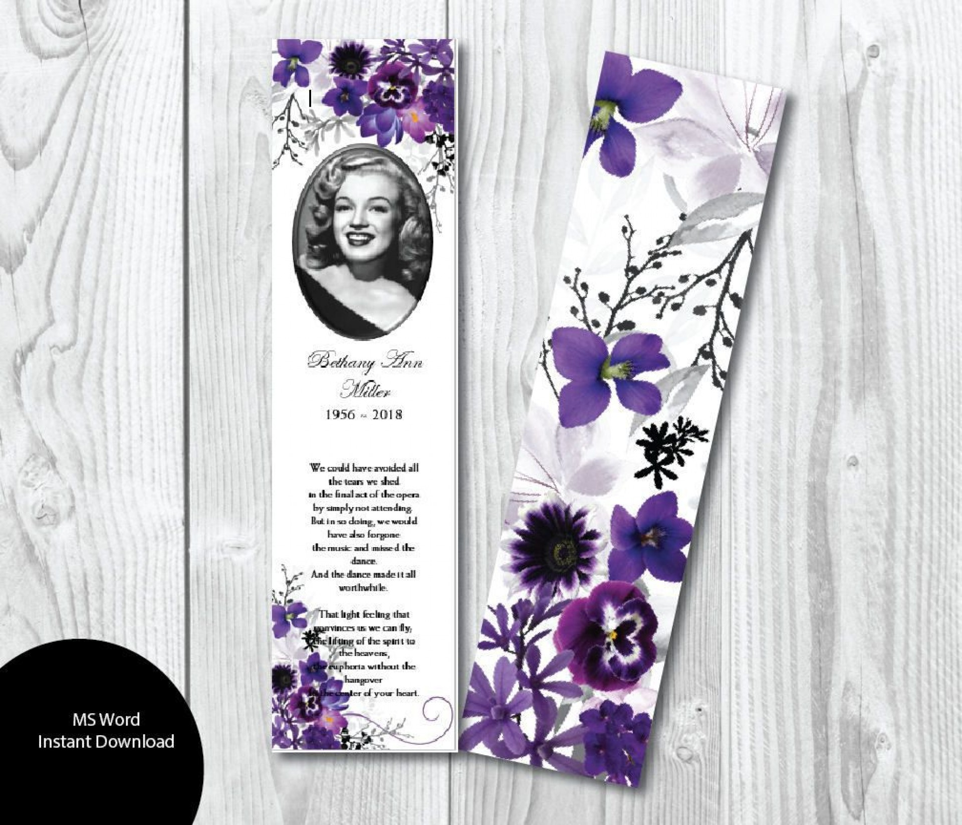 004 Rare In Loving Memory Bookmark Template Free Download Sample 1920
