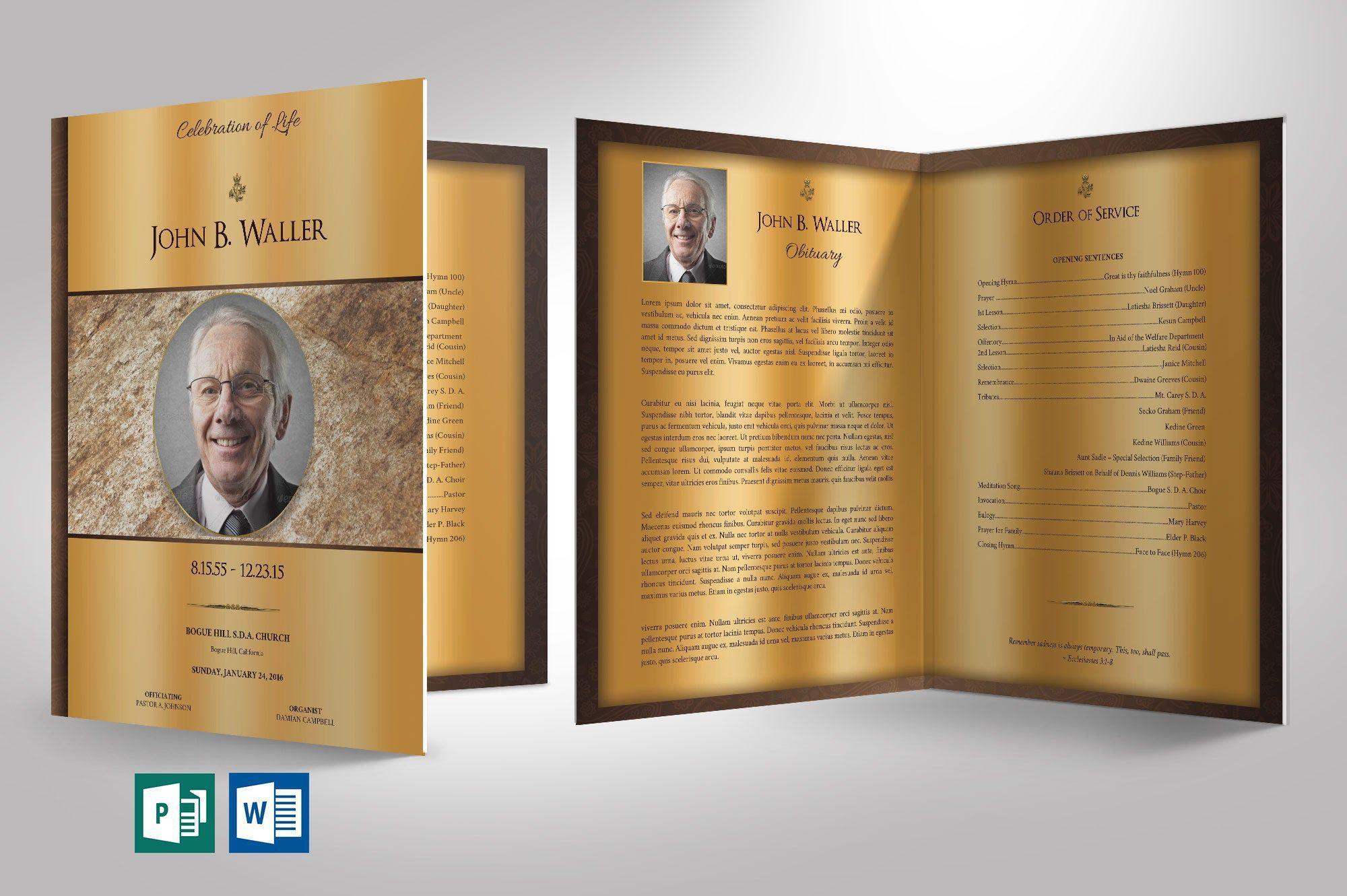 004 Rare Template For Funeral Program Publisher Sample Full
