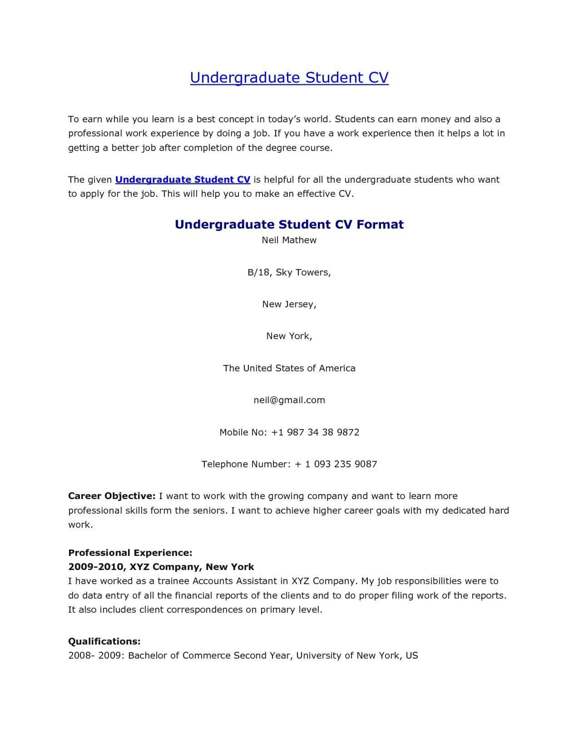 004 Rare Undergraduate Student Cv Template Sample  Pdf Download1920