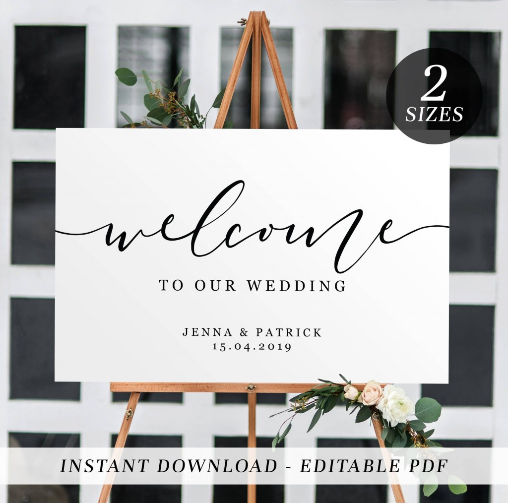004 Rare Wedding Welcome Sign Template Free Design Large