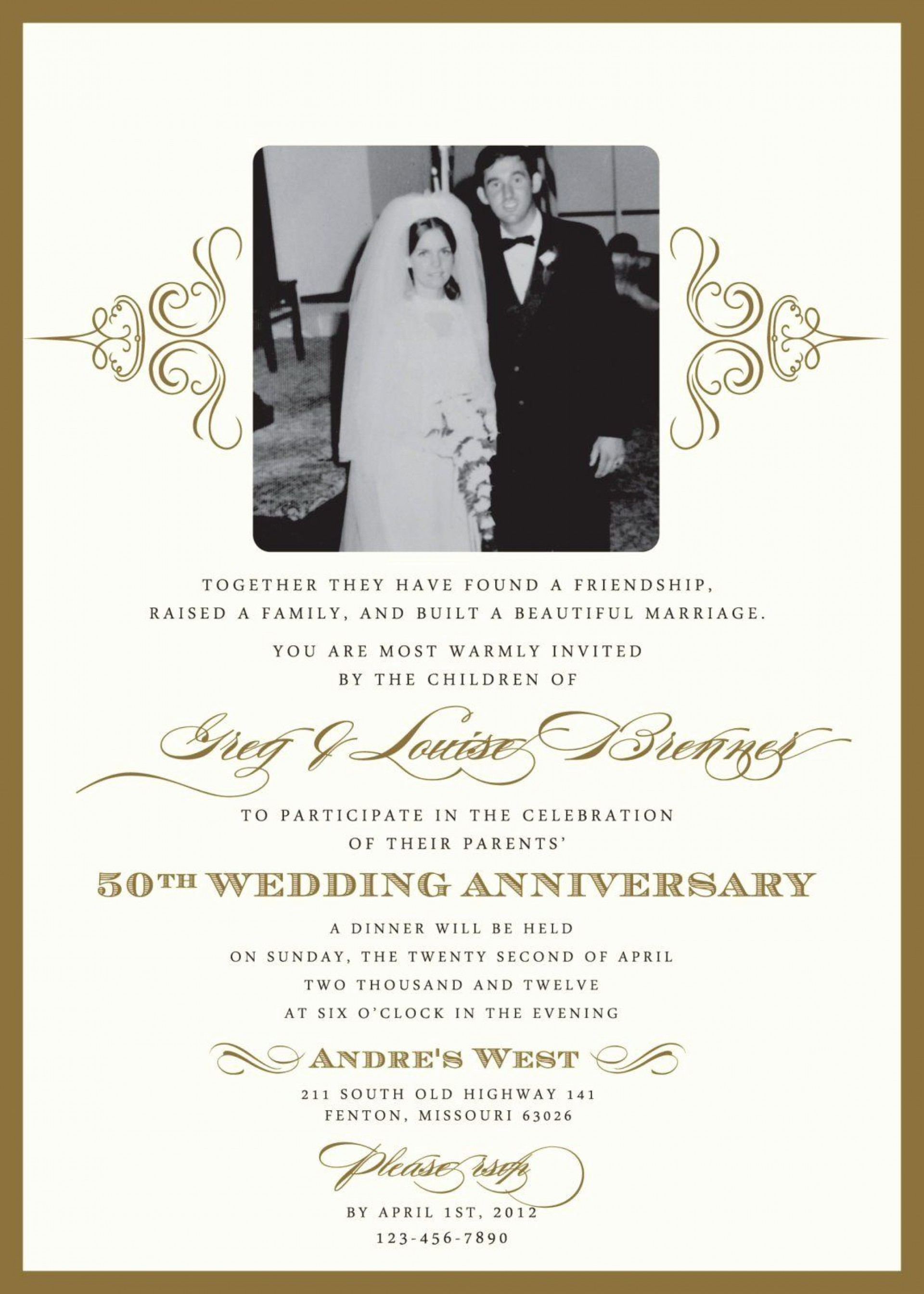 004 Remarkable 50th Anniversary Invitation Template Free Image  Download Golden Wedding1920