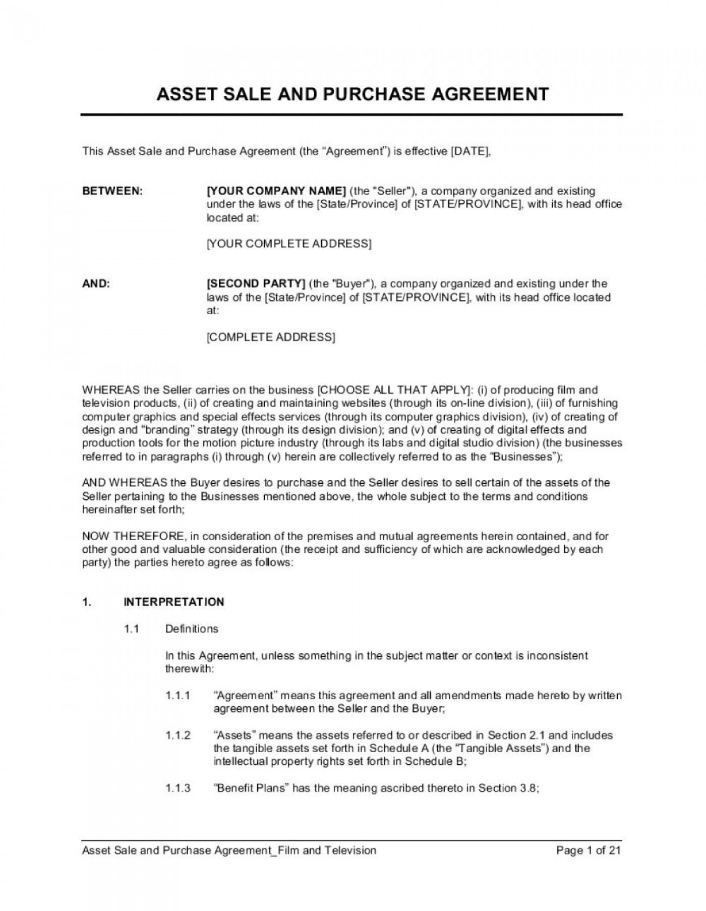 004 Remarkable Busines Sale Agreement Template Image  Western Australia Free Uk Download South Africa1400