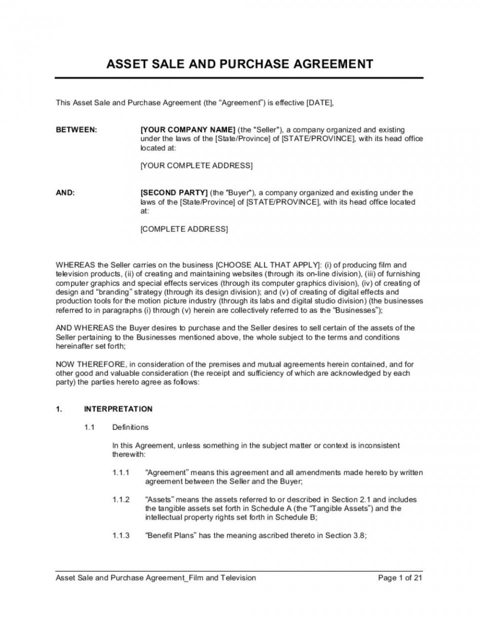 004 Remarkable Busines Sale Agreement Template Image  Western Australia Free Uk Download South Africa960