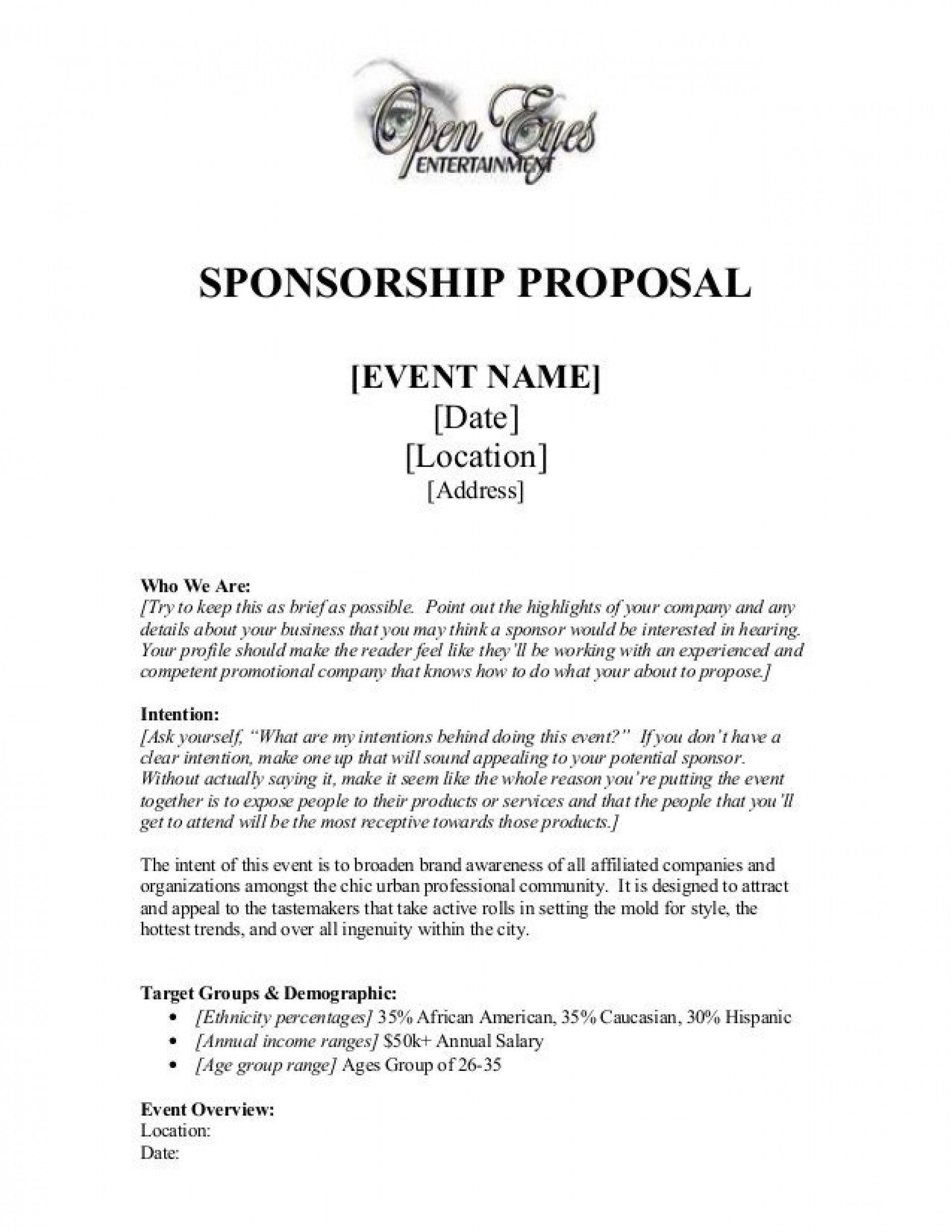 004 Remarkable Event Sponsorship Proposal Sample Pdf High Def  For Letter Music TemplateFull