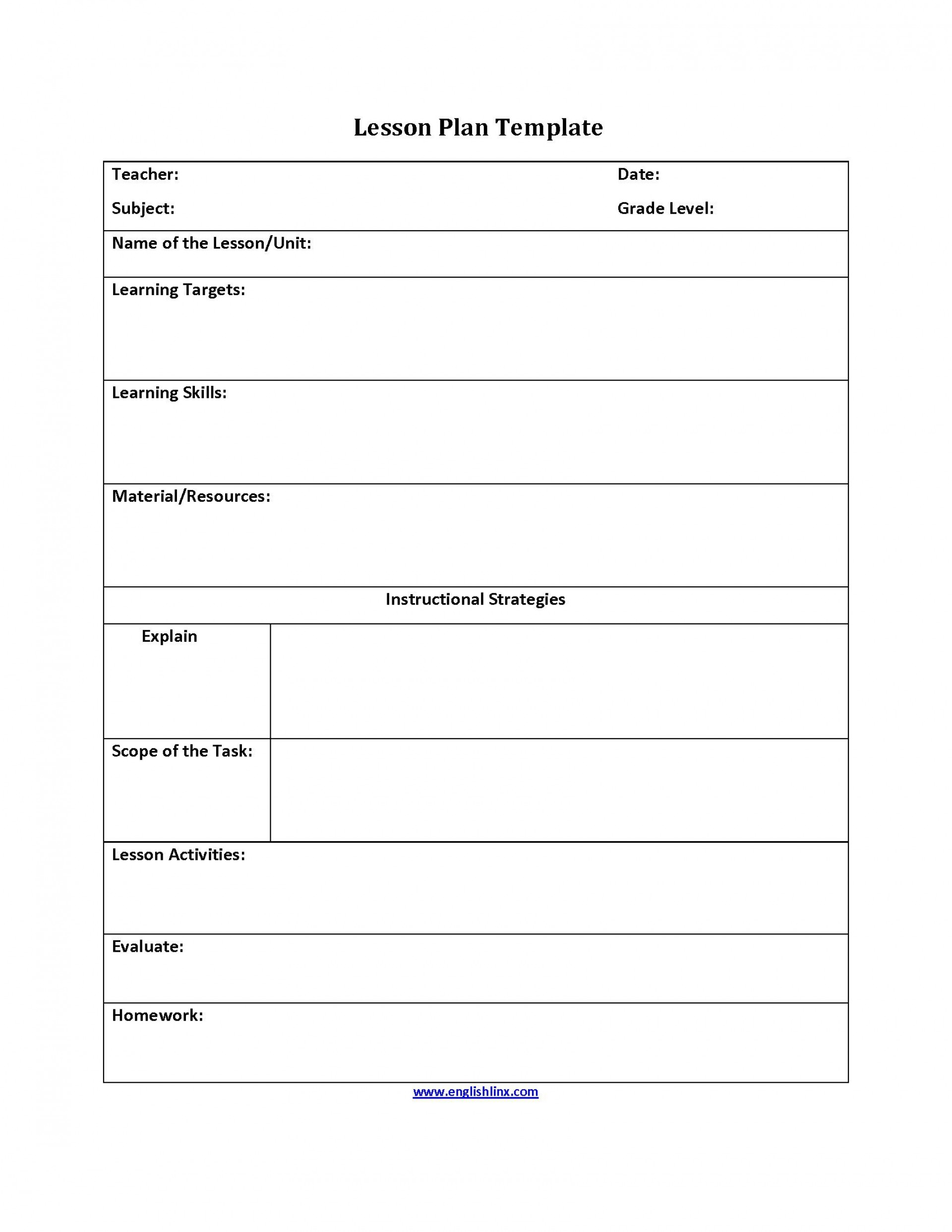 004 Remarkable Free Lesson Plan Template Word Inspiration  Preschool Doc1920