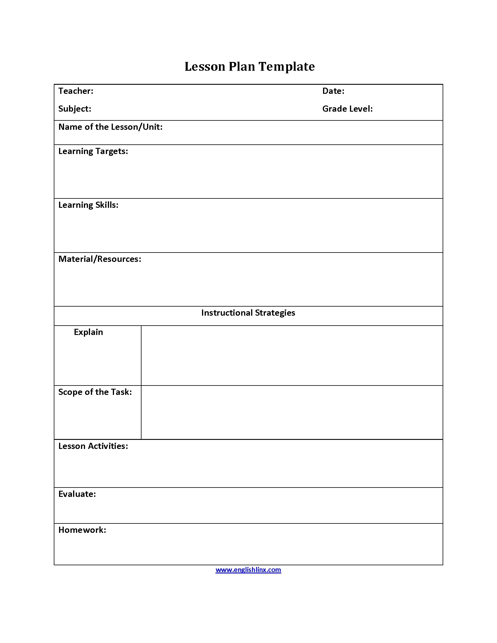 004 Remarkable Free Lesson Plan Template Word Inspiration  Preschool DocFull
