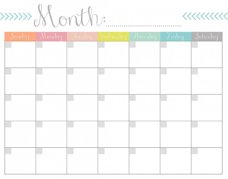 004 Remarkable Free Printable Blank Monthly Calendar Template Sample 728