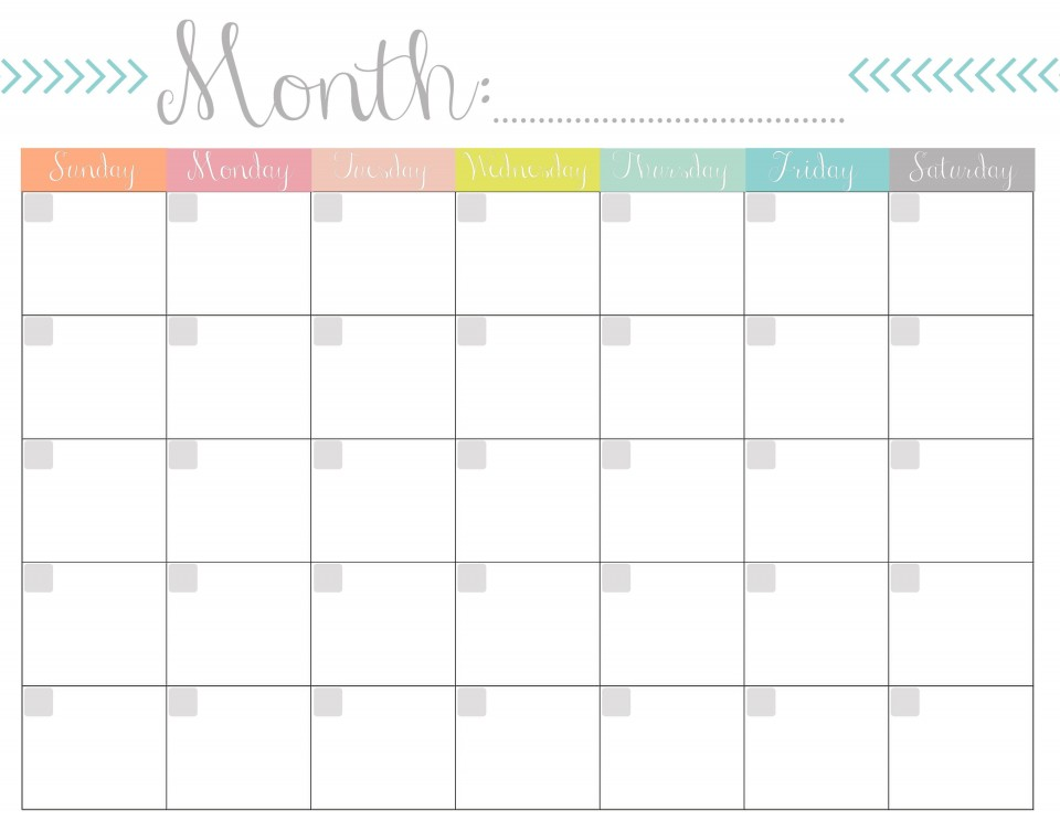 004 Remarkable Free Printable Blank Monthly Calendar Template Sample 960