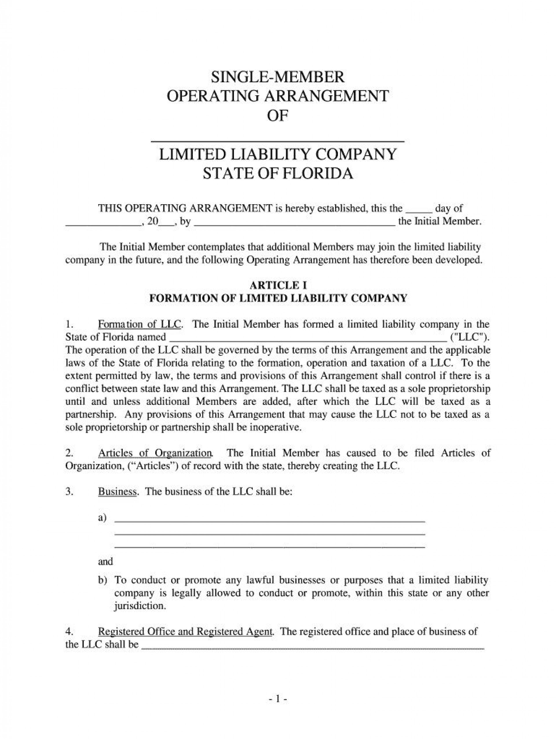 004 Remarkable Llc Operating Agreement Template Free Highest Clarity  Single Member Pdf Simple Download1920