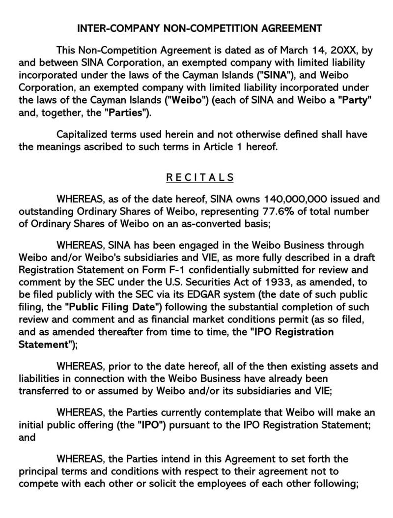 004 Remarkable Non Compete Agreement Florida Template Idea Full
