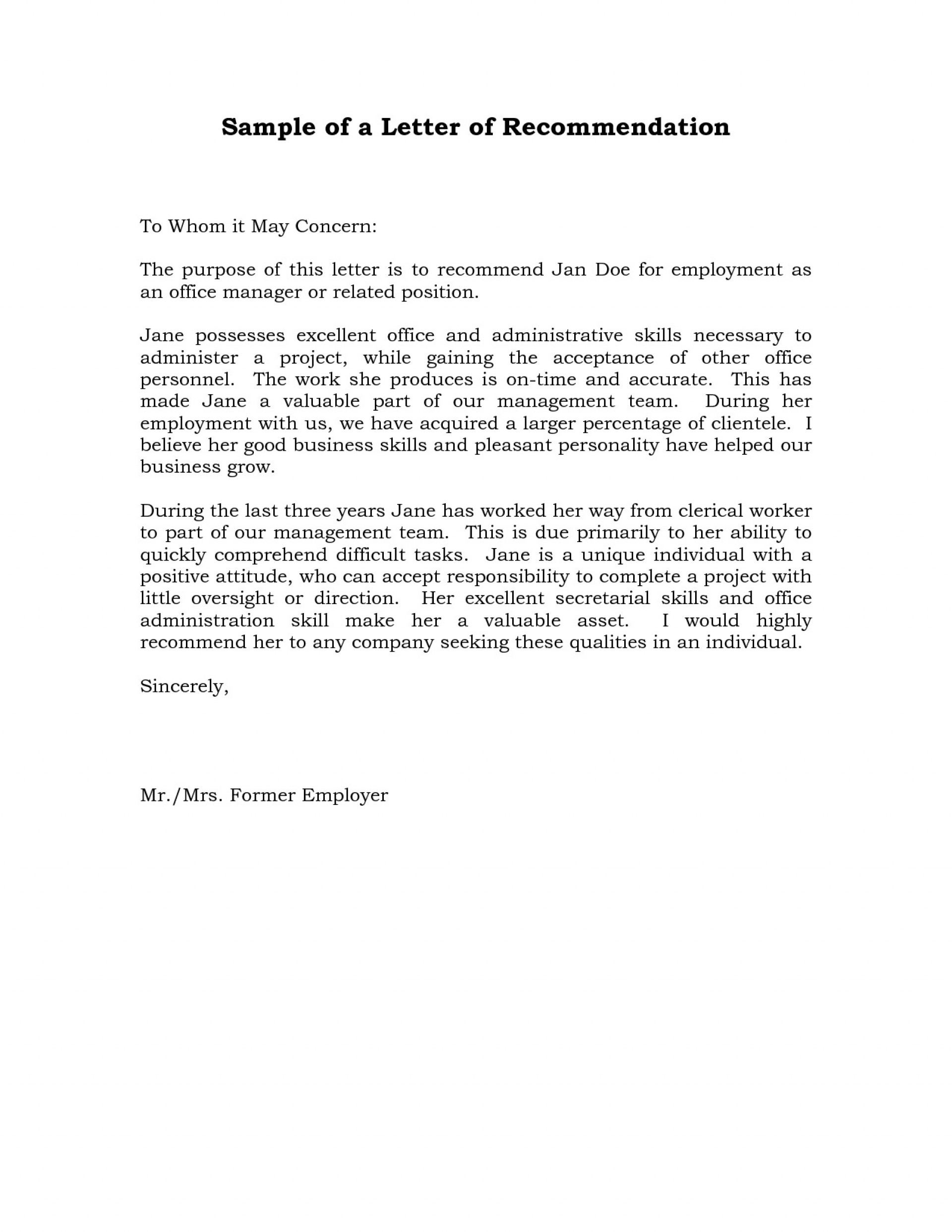 004 Remarkable Professional Reference Letter Template Sample  Nursing Free Character1920