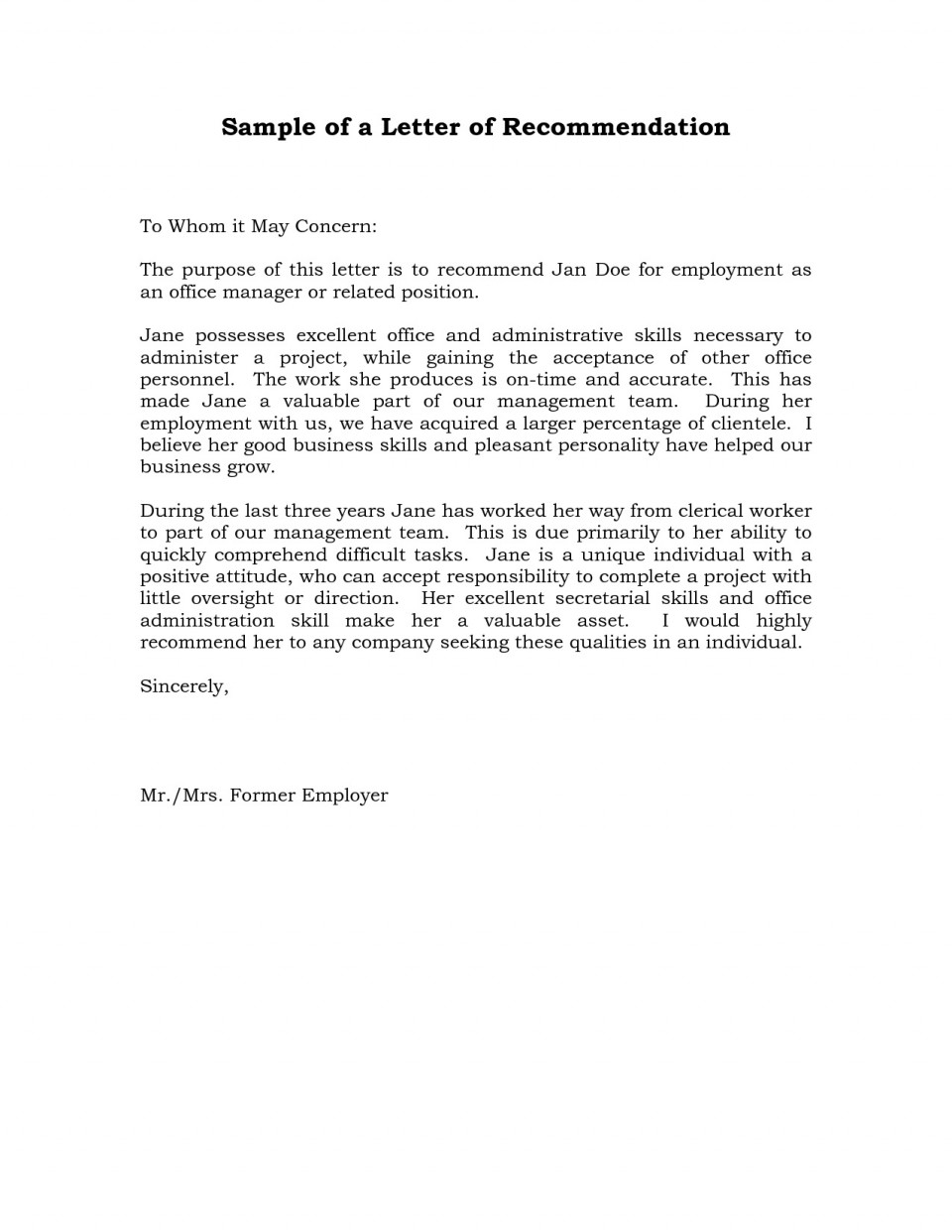 004 Remarkable Professional Reference Letter Template Sample  Nursing Free Character960