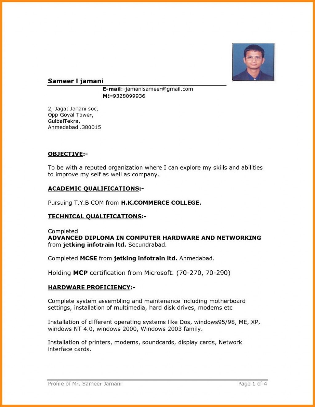 004 Remarkable Simple Resume Template Download In M Word Sample Large