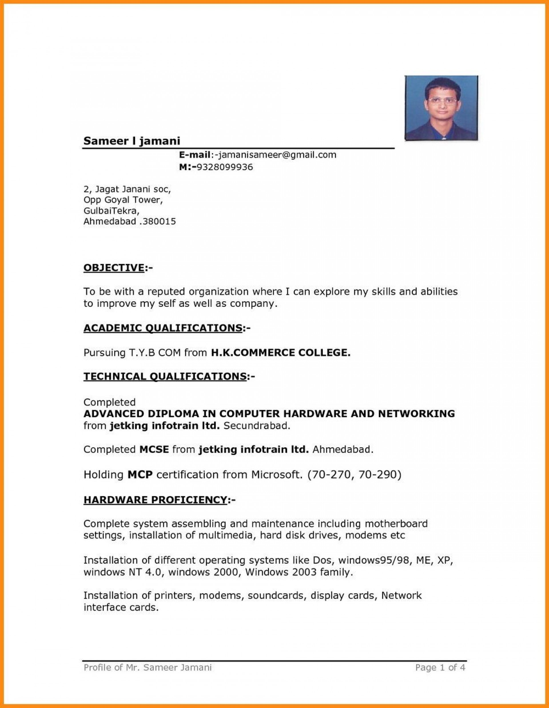 004 Remarkable Simple Resume Template Download In M Word Sample 1920